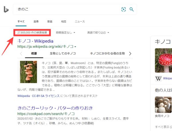 Bing検索件数の位置